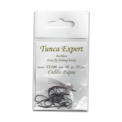 Tunca Expert Barbless Fly Hooks TE100 Caddis Pupa size 10