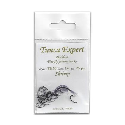 Tunca Expert Barbless Fly Hooks TE70 Shrimp size 14