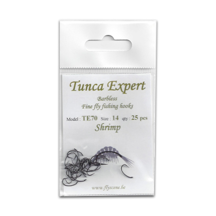 Tunca Expert Barbless Fly Hooks TE70 Shrimp size 16